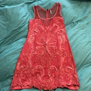 Free People coral beaded dress